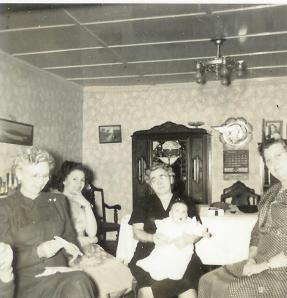 Christmas at Grandma's, 1950. Great-aunt Mary and Mom on left. Grandma and me on right,