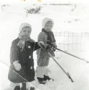 Standard winter-wear in the 50s. Yes, those are old cloth diapers wrapped around our boots.