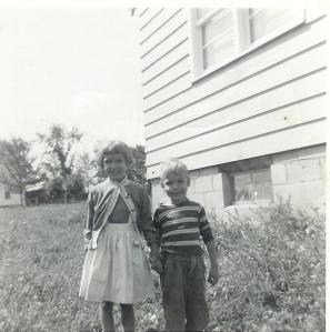 David and me, standing by my bedroom window a year or two earlier.
