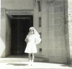 My goal: Make 1st communion so I could wear a bride-dress.
