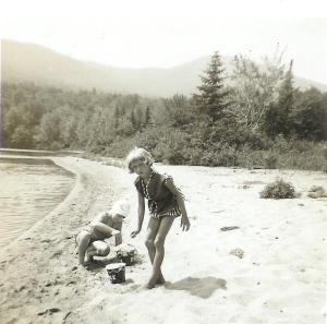 Sandy and me, the bathing beauties.