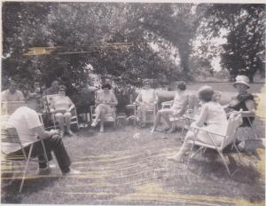 The lawnchair oval. Aunts, Uncles, and Bochi (with hat)