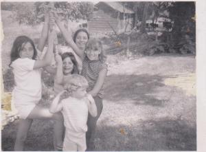 Years later the swing still hangs. L-R younger Nancy, Karen Ann, Janet Ann, Susan Marie, little Paula