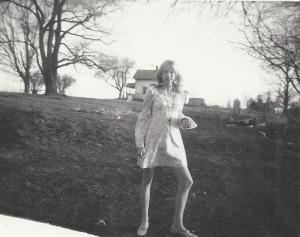 Me, a couple years later, modeling a dress I made (1968). Notice the modely pose.