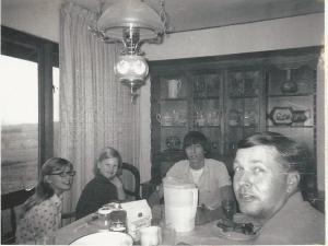 Sue, Paula, David, Dad Around the dinner table a few years later. 1972.